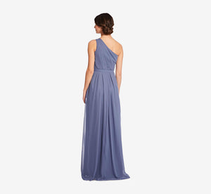 Savannah One Shoulder Chiffon Pleated Dress In Dusty Blue