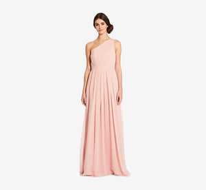 Savannah One Shoulder Chiffon Pleated Dress In Rose