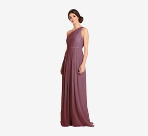 Savannah One Shoulder Chiffon Pleated Dress In Marsala