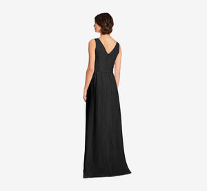 Scarlett Pleated Chiffon V-Neck Dress In Black