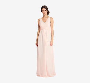Scarlett Pleated Chiffon V-Neck Dress In Blush