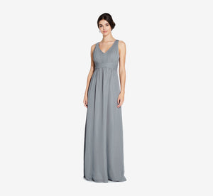 Scarlett Pleated Chiffon V-Neck Dress In Slate Grey