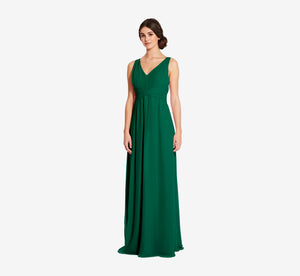 Scarlett Pleated Chiffon V-Neck Dress In Evergreen