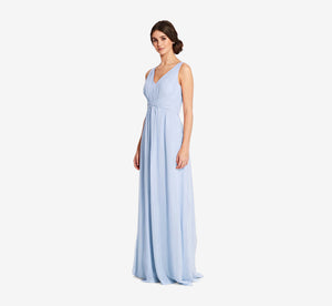Scarlett Pleated Chiffon V-Neck Dress In Cloudy