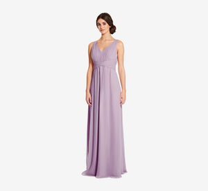 Scarlett Pleated Chiffon V-Neck Dress In Dusty Lilac