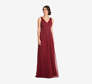 Scarlett Pleated Chiffon V-Neck Dress In Cabernet