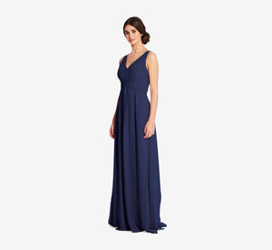 Scarlett Pleated Chiffon V-Neck Dress In Navy