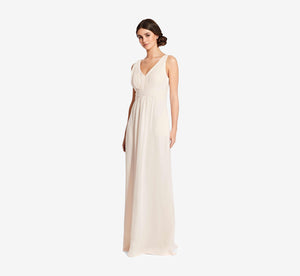 Scarlett Pleated Chiffon V-Neck Dress In Champagne