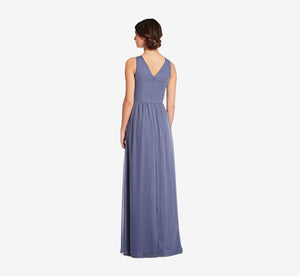 Scarlett Pleated Chiffon V-Neck Dress In Dusty Blue
