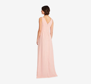Scarlett Pleated Chiffon V-Neck Dress In Rose