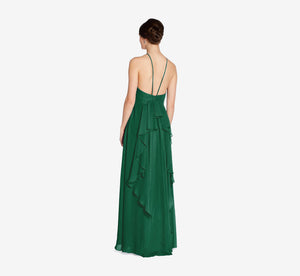 Thea Halter Chiffon Dress With Ruffle Back In Evergreen