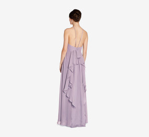 Thea Halter Chiffon Dress With Ruffle Back In Dusty Lilac