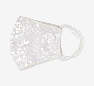 Sequin Beaded Face Mask In Ivory