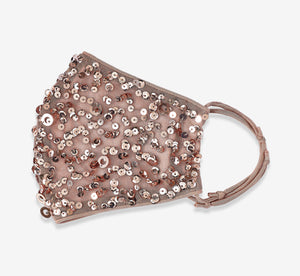 Sequin Beaded Face Mask In Rose Gold