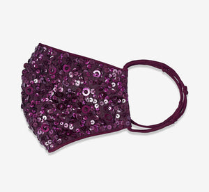 Sequin Beaded Face Mask In Cassis