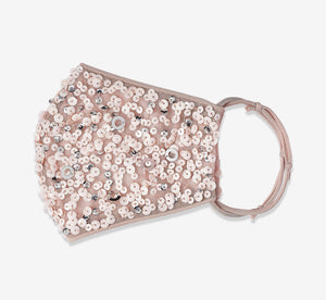 Sequin Beaded Face Mask In Blush