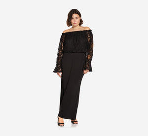 Plus Size Black Off The Shoulder Crepe Jumpsuit With Lace Bodice In Black
