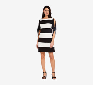 Striped Shift Dress With Split Tie Sleeves In Black Ivory