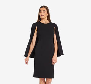 Tailored Sheath Dress With Split Cape In Black