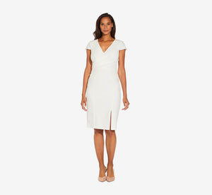 Cap Sleeve Sheath Dress With Draped Bodice Detail In Ivory