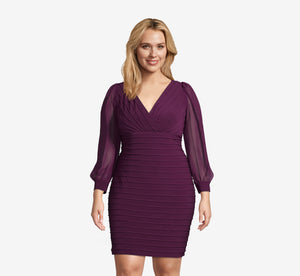 Plus Size Bandage Style Sheath Dress With Sheer Detail In Shiraz