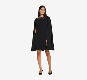 Short Cape Dress With Beaded Detail In Black