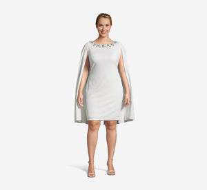 Plus Size Short Cape Dress With Beaded Detail In Ivory