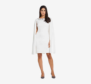 Short Cape Dress With Beaded Detail In Ivory