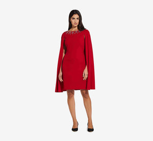Short Cape Dress With Beaded Detail In Cardinal
