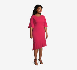 Plus Size Midi Sheath Dress With Ruffle Detail In Warm Cherry