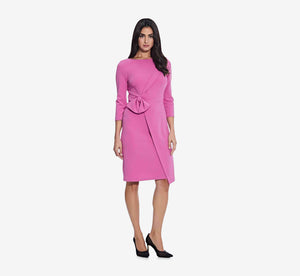 Asymmetrical Faux Wrap Sheath Dress With Three Quarter Sleeves In Raspberry
