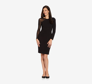 Asymmetrical Bandage Dress With Sheer Long Sleeve In Black