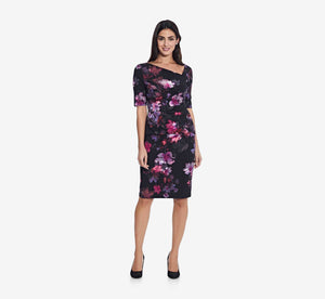 Asymmetrical Floral Sheath Dress With Draped Detail In Black Multi