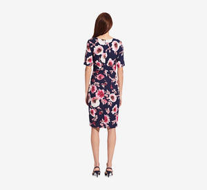 Floral Faux Wrap Sheath Dress In Navy Multi