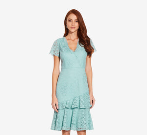 Short Sleeve Lace Dress With Scalloped Neckline In Aqua Luster