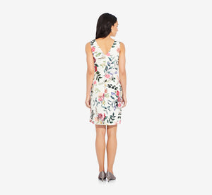 Sleeveless Floral Sheath Dress In Ivory Multi