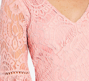 Lace Sheath Dress With Bell Sleeves In Pink Conch