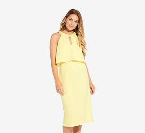 Sleeveless Sheath Dress With Cutout Detail In Lemon Ice
