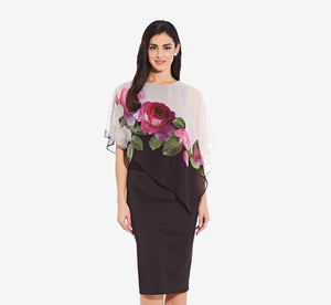 Asymmetrical Floral Sheath Dress With Flutter Sleeves In Black Pink Multi