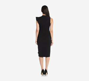 Asymmetrical Ruffle Sheath Dress In Black