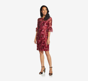 Embroidered Sheath Dress In Red Multi