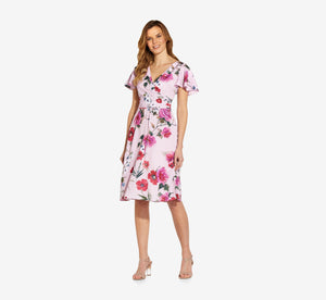 Short Sleeve Floral Faux Wrap Dress In Pink Multi