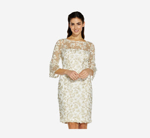 Metallic Embroidered Sheath Dress In Ivory Gold