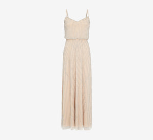 Diamond Beaded Blouson Dress In Silver Nude