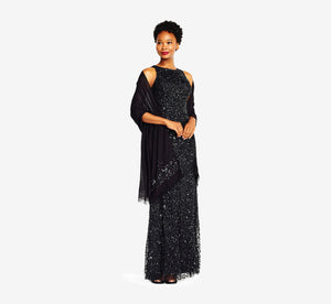 Semi-Sheer Pashmina Shawl With Beaded Accents In Black