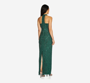 Mock Neck Beaded Column Dress With T-Back In Dusty Emerald