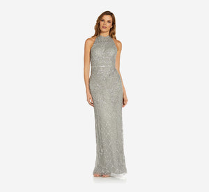 Mock Neck Beaded Column Dress With T-Back In Blue Mist