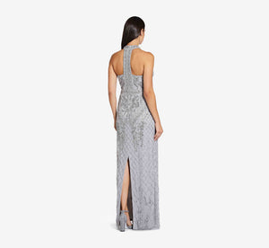 Mock Neck Beaded Column Dress With T-Back In Bridal Silver