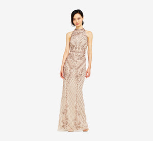 Mock Neck Beaded Column Dress With T-Back In Biscotti