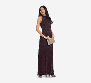 Mock Neck Beaded Column Dress With T-Back In Night Plum